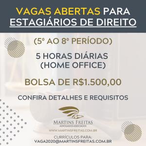 VAGAS ABERTAS PARA ESTAGIÁRIOS DE DIREITO E AUXILIAR DE SETOR FISCAL
